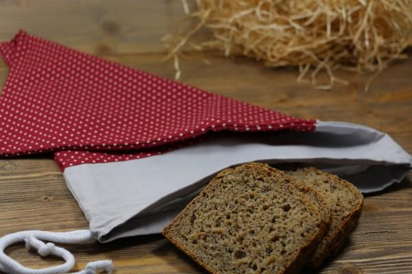 Brotbeutel rot/klein gepunktet