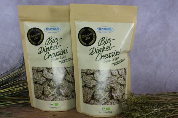 Bio-Dinkel-Crossini Käse/Pesto