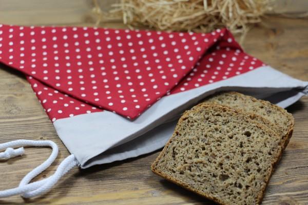 Brotbeutel rot/groß gepunktet