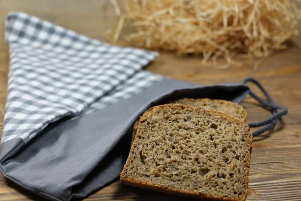 Brotbeutel grau/kariert